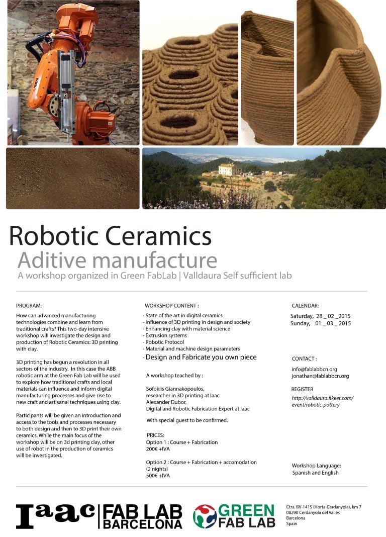 Robotic Ceramics Weekend Workshop Iaac